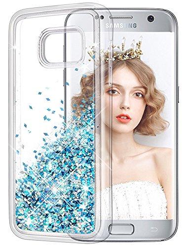 wlooo Funda para Samsung Galaxy S7, Glitter liquida Cristal Silicona Lujo 3D Bling Flowing Sparkly Cute Transparente Cover Protector Suave TPU Bumper Case Brillante Arena movediza Carcasa