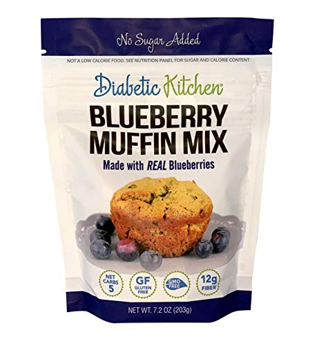 Diabetic Kitchen Low Carb Blueberry Muffin Mix - No Sugar Added Snacks - Breakfast Food w/ 12g Fiber - Non-GMO (Blueberry)
