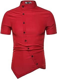 Qiyun Autumn Shirt Men Shirt Summer Asymmetry Short Sleeve Stand Collar Solid Color Slim Male Shirt Tops