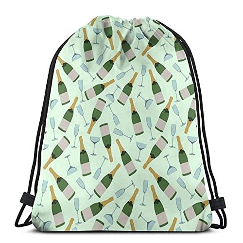 Bolsas con cordón para copas de champán, unisex, con cordón, bolsa de deporte, bolsa grande, con cordón, mochila de gimnasio a granel