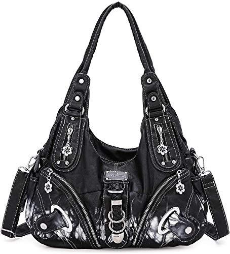 Angel Barcelo Damen Handtasche Schultertasche PU Leder Top Griff Satchel Tote Bag (AK11282-5Z #10BLACK)