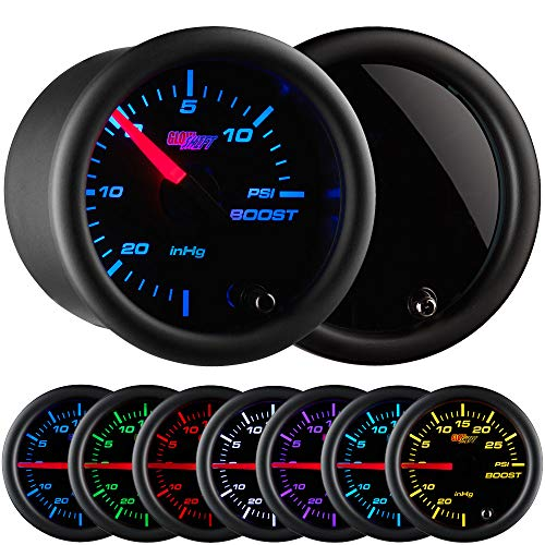 GlowShift Tinted 7 Color 15 PSI Turbo Boost / Vacuum Gauge Kit - Includes Mechanical Hose & T-Fitting - Black Dial - Smoked Lens - for Cars - 2-1/16 52mm