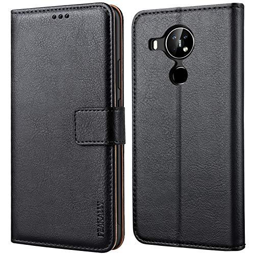 Peakally Handyhülle für Nokia 5.4 Hülle, Premium Leder Flip Hülle Tasche Schutzhülle Brieftasche Klapphülle [Kartenfächer] [Standfunktion] [Magnet] für Nokia 5.4 - Schwarz
