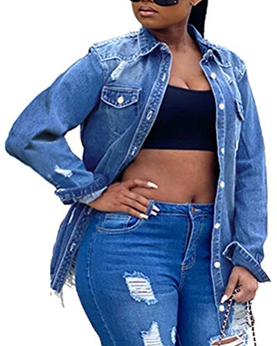 Onsoyours Donna Ragazze Primavera Autunno Moda Jacket Ricamo Denim Giacca Capispalla Outerwear Giubbino Manica Lunga Corto Jeans Jacket con Tasche Z2 Blu XXL