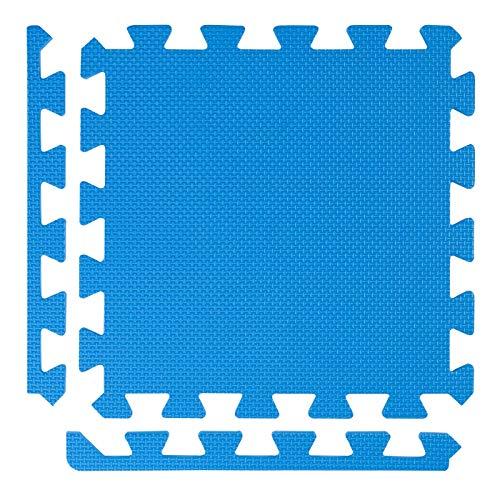 BodenMax Esterilla de gimnasio puzzle de espuma EVA | Azul | 30 cm x 30 cm x 2,5 cm | Set de 6 piezas y 12 bordes = 0,54 m² | Para yoga, fisiculturismo, artes marciales, tatami, gimnasio