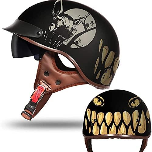 casco moto vintage, para Street Bike Cruiser Cascos De Moto Mujer, Retro Half Moto Cascos Helmet del Casco del Viaje A,XL