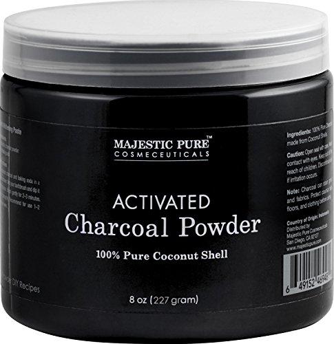 Majestic Pure Activated Charcoal Powder for DIY Recipes - Facial Masks, Facial Scrubs, Knee...
