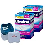 Efferdent Denture Cleanser Complete Clean 204 Tablets Bundle with Dentu-Care Denture Cleaning Cup Case Bath With Basket Lid for Maintaining Good Oral Care for Full Partial Dentures