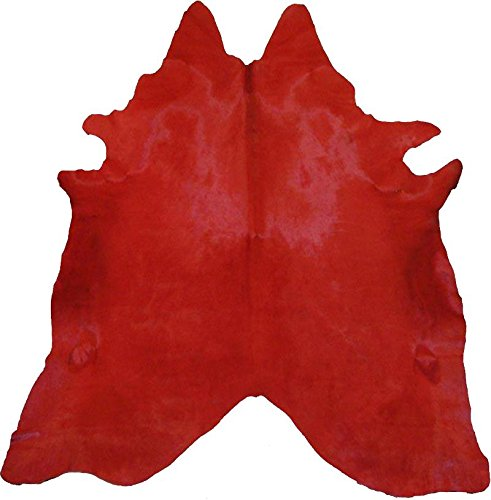 ecowhides Red Dyed Brazilian Cowhide Area Rug, Cowskin Leather Hide for...