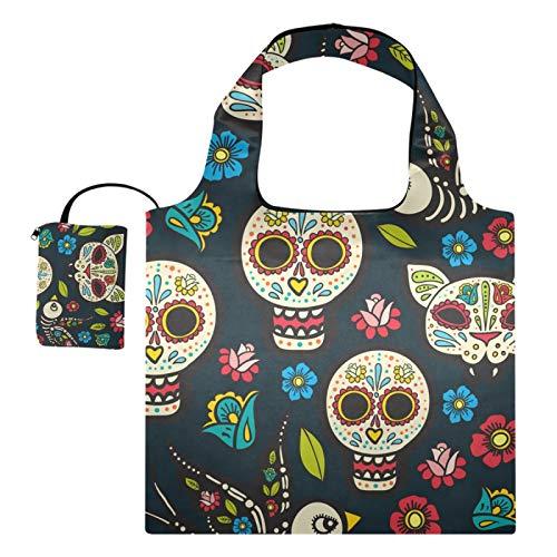 Bolsas de compras reutilizables – Día Muertos Día Muertos Halloween calavera mexicana plegable bolsa grande lavable a máquina bolsas de tela con bolsa