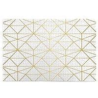 1000ピースパズル、ゴールド幾何学菱形抽象パターンモダンラインホワイトゴールデンデザイン、大人と子供のための絵パズルゲーム家族の結婚式の卒業ギフト
