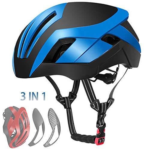 WYLDDP 3 in 1 Fahrradhelm MTB Rennrad EPS Reflektierender Fahrradhelm Herren Sicherheitslicht Helm Integral geformte Pneumatik,Blau