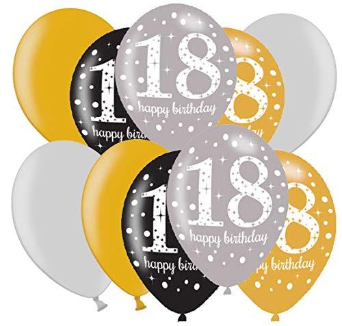 Libetui 10 Starke Elegante Luftballons Deko zum 18. Geburtstag Party Dekoration Luftballons Gold Silber metallic18. Geburtstag