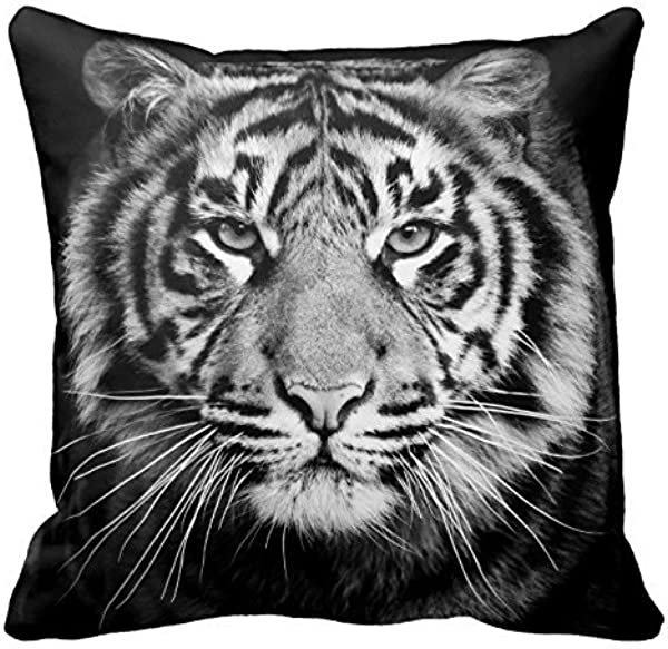 Black And White Tiger Photo Zippered Pillow Case Home Decorative Cushion Covers Square 18x18 Inch Two Sides