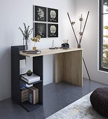 Home Heavenly® - Escritorio, Mesa despacho, Oficina Tokyo Estilo Minimalista, Industrial, Mueble multifunción 2 en 1 con cómoda estantería y Amplia Mesa de Trabajo fabricación Europea (Roble)