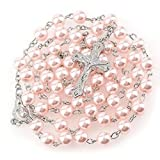 Rosario rosa collar con perlas bisuteria largo 56 cm