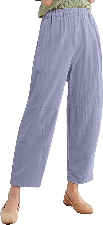 JABROCT Wide Leg Linen Pants for Women Baggy Capri Pants Summer Casual Harem Cropped Pants with Pocket Plus Size