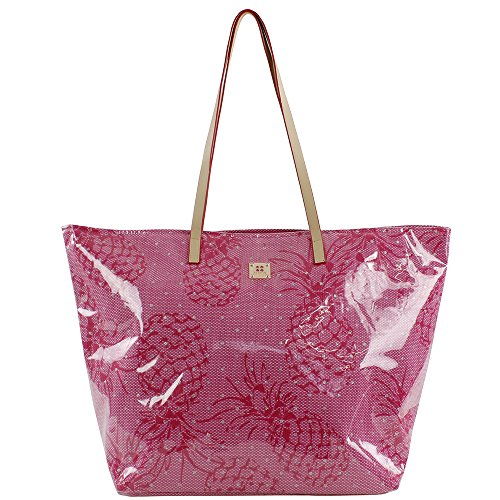 For Time, Bolso de playa Pineapple para Mujer, Rosa, 58x38 cm