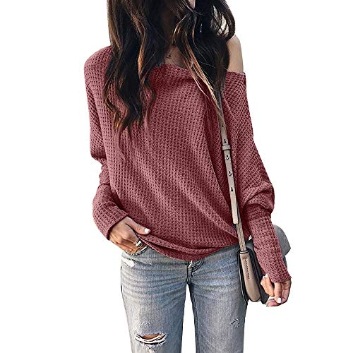 ❀Material :95% Polyester / 5% Spandex, good quality fabric, soft and comfortable ❀Features:Feature:Waffle Knit Tunic,Long Sleeve,Off shouldear,One Shoulder.Prefect with skinny jeans, leggings, t-shirts, tops, shirts, etc. ❀Suitable for casual, party,...