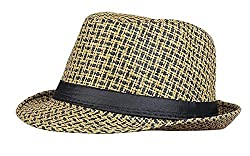 Zacharias Men and Women Net Printed Fedora Hat (Brown, Free Size)
