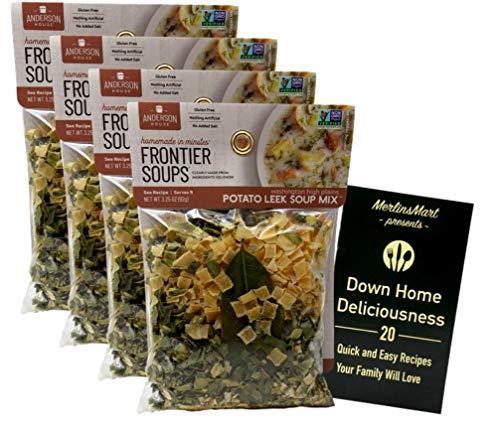 Frontier Soups Gluten Free Natural Soup Mix | Washington High Plains Potato Leek Soup Mix (3.25 Ounces) | 4 Count Plus Recipe Booklet Bundle