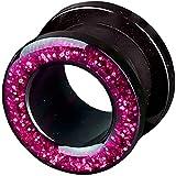 viva-adorno 1 Stück Flesh Tunnel Acryl Glitzerdesign zum Schrauben Z2c, Größe: 4mm, Pink