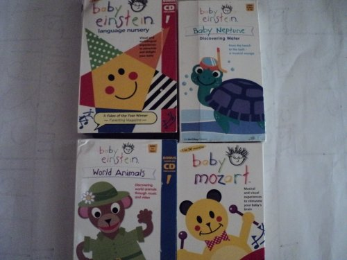 Baby Einstein Kids and Children 4 Pack VHS Movies: Baby Einstein Language Nursery, Baby Neptune: Discovering Water, World Animals: Discovering World Animals Throught Music and Video, Baby Mozart: Musical and Visual Experiences to Stimulate Your Baby's Brain