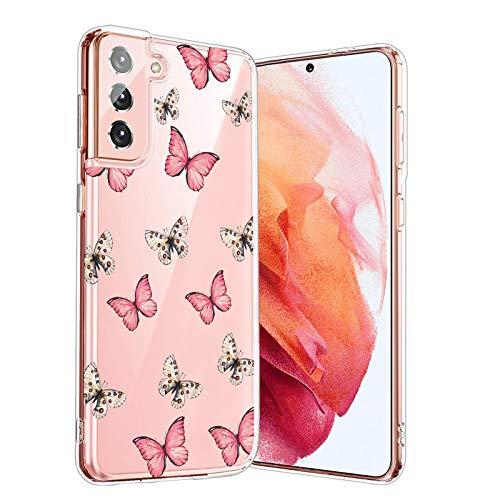 Hülle-Durchsichtig-Samsung Galaxy-S21,Durchsichtig-Anti-Gelb-Handyhülle-Durchsichtig-Tasche-Schutzhülle,Klare-Blume-Motiv-Süße-Blumen,for-Samsung GalaxyS21-20