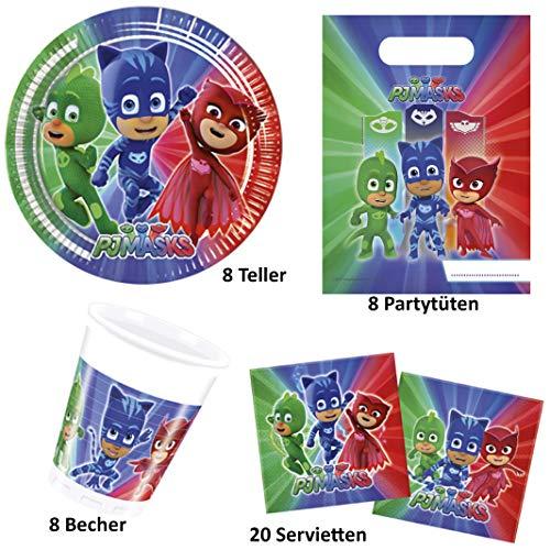 Party-Teufel® PJ Masks – Pyjamahelden Geschirr-Set 44-teilig Servietten Pappteller Becher Partytüten für 8 Kinder Kindergeburtstag Partygeschirr