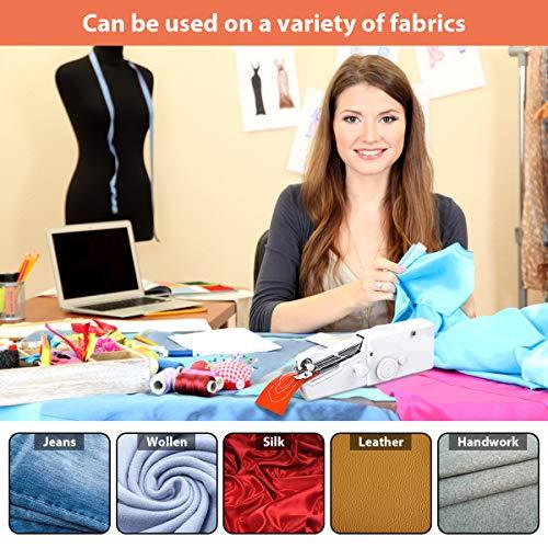 CHARMINER Handheld Sewing Machine, Mini Handy Cordless Portable Sewing Machine, Mini Sewing Machine, Quick Repairing Suitable for Denim Curtains Leather DIY 18 PCS (White)