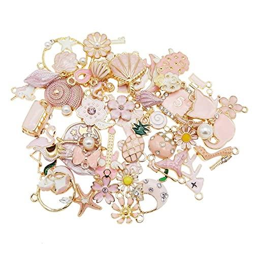 TGBN 10 Uds DIY Accesorio Colgante encantos de Colores Mezclados Flor Planta Estrella al Azar para Pulsera Pendientes decoración