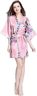 Kimono Woman Night Dress, Flowers Peacock Bathrobe, Silk Pajamas Bathrobe Satin Garment Nightgown Printed for Bridesmaid, Spa, Etc.