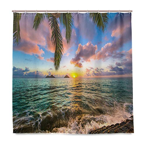 DZGlobal Shower Curtain Palm Tree Sunset Beach Sea Wave Ocean Surface Scency Waterproof Polyester Fabric Shower Curtains Bathroom Decor Set with 12 Plastic Hooks 66x72 Inch