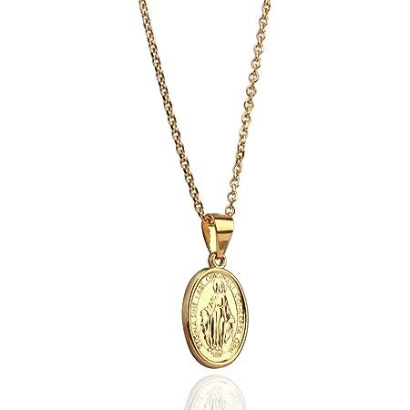 「silver KYASYA」18金仕上げ!聖母マリアコインネックレス ゴールドコイン ペンダント 奇跡のメダイ ネックレス 45cm