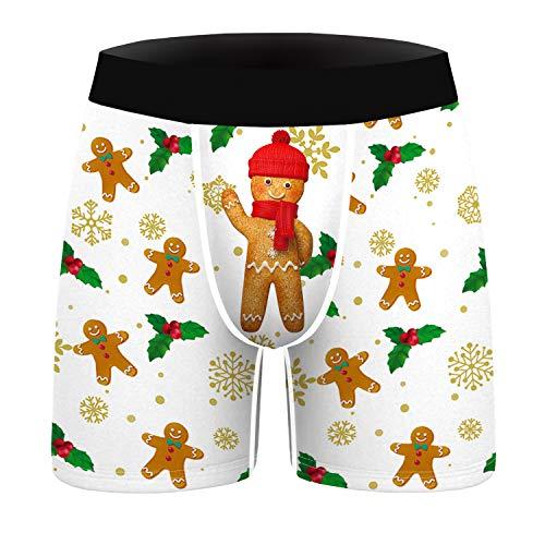 URVIP Herren 2er Pack Boxershorts Weihnachten Motiv 3D Druck Unterhose BKDL-017 XXL