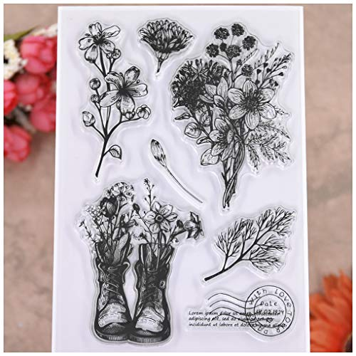 KWELLAM Postage Stamp Flowers Leaves With Love Tour Paris Clear Stamps for Card Making Decoration and DIY Scrapbooking