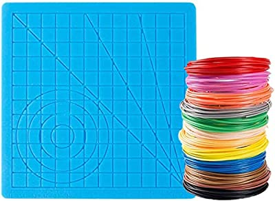 3D Printer Pen Silicone Mat with 12 Color PLA Filament 1.75mm for Kids and Adults to Start 3D Printing and Create 3D Art (Basic Template +12 Color Filament)
