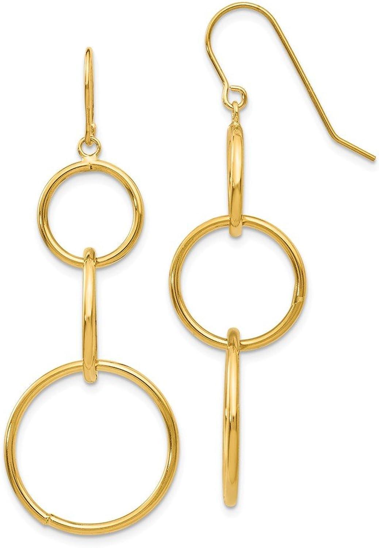 Beautiful Yellow gold 14K Yellowgold 14k 3 Circle Dangle Wire Earrings