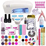 Warm Girl Full UV Nail Art Kits 9 W Rosa UV lámpara UV 18 colores polvo acrílico Rhinestone Gel Nail Art Set