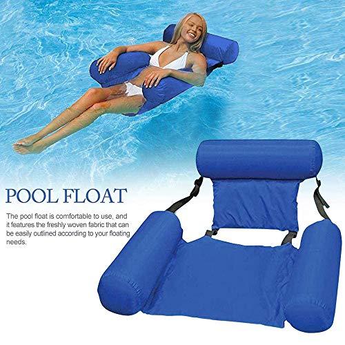 QASIMO WOSNN Silla flotante plegable de verano hinchable para la playa, piscina, hamaca para portátil, para adultos y niños, vacaciones de playa (azul)