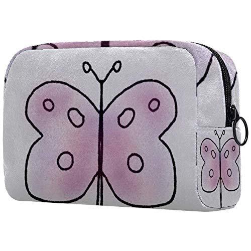 Trousse de toilette portable pour femme - Sac à main - Organisateur de voyage - Papillon - Personnalisable