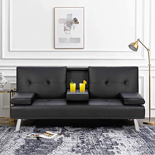 MIERES Faux Leather Convertible Futon Removable Armrests/Metal Legs, 2 Cupholders Sofa Bed, Black