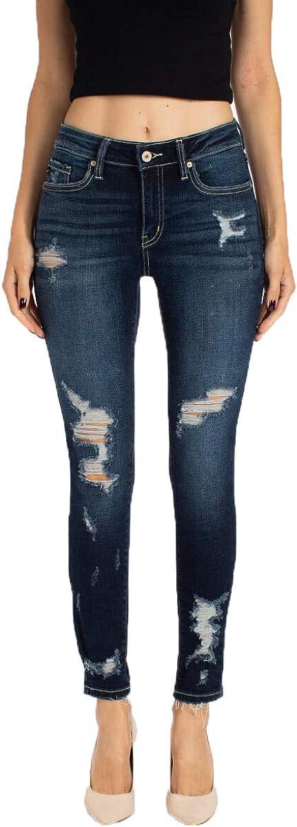 Kancan Jeans Women's Over item handling Ranking TOP5 Five Pocket Rise Denim Mid Distressed Jean