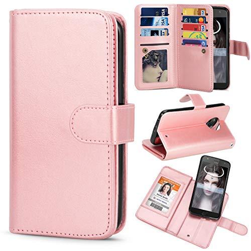 TILL for Moto X4 Case, TILL Moto X4 [PU Leather] Flip Wallet Case [Cash & Card Slot Holder] [Kickstand] Detachable Magnetic Folio Protective Case Cover [Rose Gold]