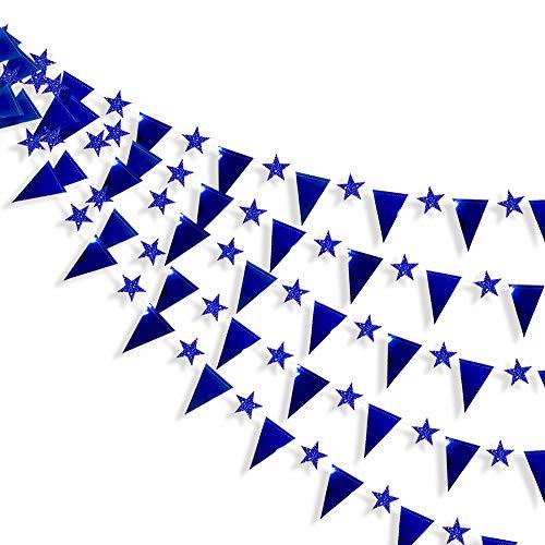 Pink Blume 30 Ft Blau Stern und Dreieck Fahnen Doppelseitige Metallische Wimpelkette für Hochzeit Baby Bridal Shower Geburtstag Junggesellinnenabschied Jahrestag Party Zubehör