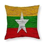 Kissenbezug mit Flagge von Myanmar, quadratisch, dekorativer Kissenbezug für Sofa, Couch, Zuhause, Schlafzimmer, für drinnen & draußen, 45,7 x 45,7 cm