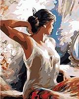 YYZK数字によるDiyの絵画キャンバスフィギュア数字によるオイルペイント手描きのDiyギフト家の壁の装飾40x50cm(フレームなし)