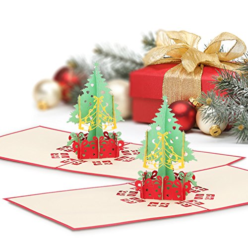 2 Pack Christmas Pop up Cards, Wimaha Christmas Tree Merry Christmas Card for Christmas Day New Year Greeting Gift Card