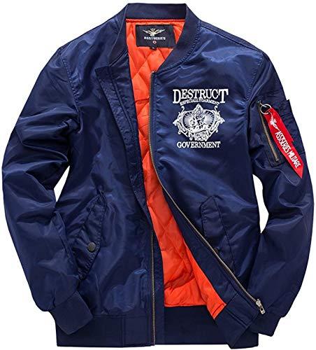 Men S Classic Nylon Autumn Winter Printing Lightweight Coat Parka Thick Warm Air Force Flight Bomber Jacket Outerwear,Blue-5XL