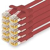 1CONN - Cable de red de 1,5 m, Ethernet, LAN y cable de conexión para máxima velocidad de Internet y conecta todos los dispositivos con conector RJ 45 hembra rojo - 10 unidades
